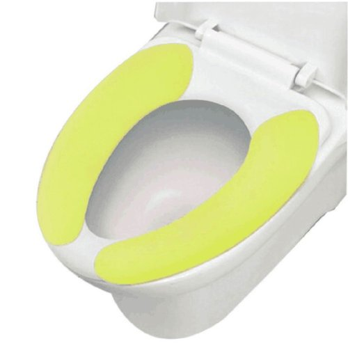 2 Pairs Healthy Sticky Washable&Portable Toilet Seat Covers, Green, 15.4*3.6''