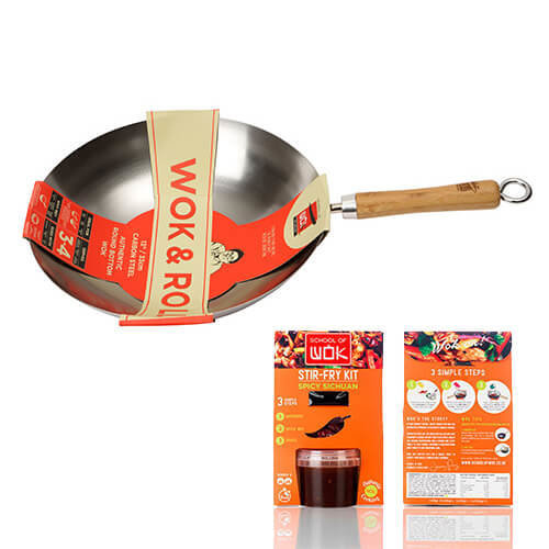 """School of Wok """"Wok and Roll"""" Non-Stick Carbot Steel Round Bottom Wok, Silver, 13-Inch"""