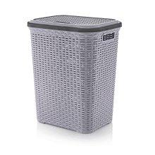 Plastic 56L Laundry Basket   Rattan Style Washing Bin