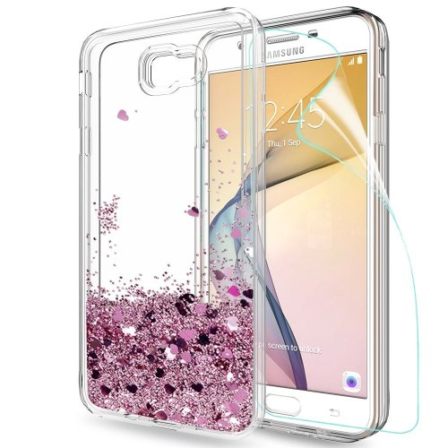 dcd40a9b869 Samsung Galaxy J7 Prime Case Glitter Liquid with HD Screen Protector, LeYi Hard  Case Luxury Sparkly Bling Quicksand Cute for Girls Women Clear... on OnBuy