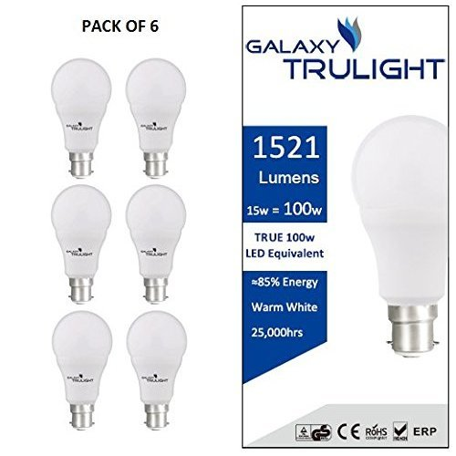 Pack of 6 - B22 Bayonet 15W LED Bulb (100W equivalent) - Galaxy Trulight - Warm White