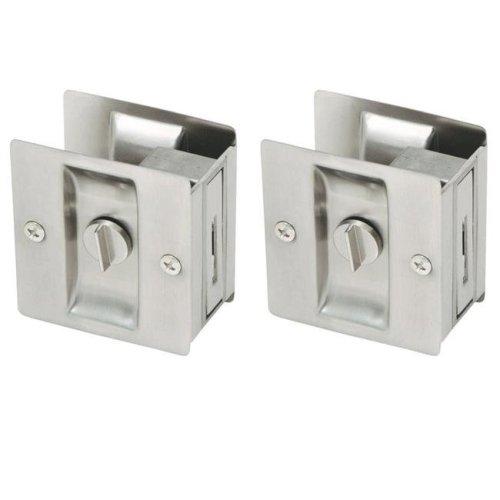 Pocket Door Bed & Bath Lock, Satin Nickel - Pack of 2
