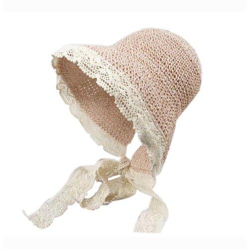Womens Foldable Straw Hat Elegant Lace Edge Tied Visor for Girls Summer, Pink