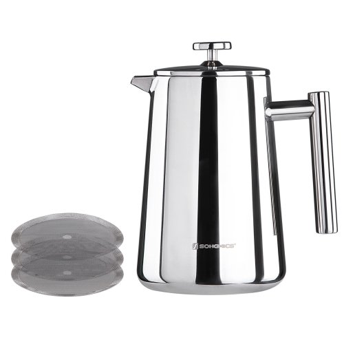 Songmics Stainless Steel Cafetiere French Press Double Walled Cafetiere with 2 Filters 1000 ml Silver GCP13S