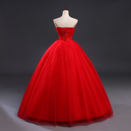 Red Lace Up Wedding Dresses Vestidos de Novia 2017 Plus Size Bridal Gowns Under $50 Free Shipping