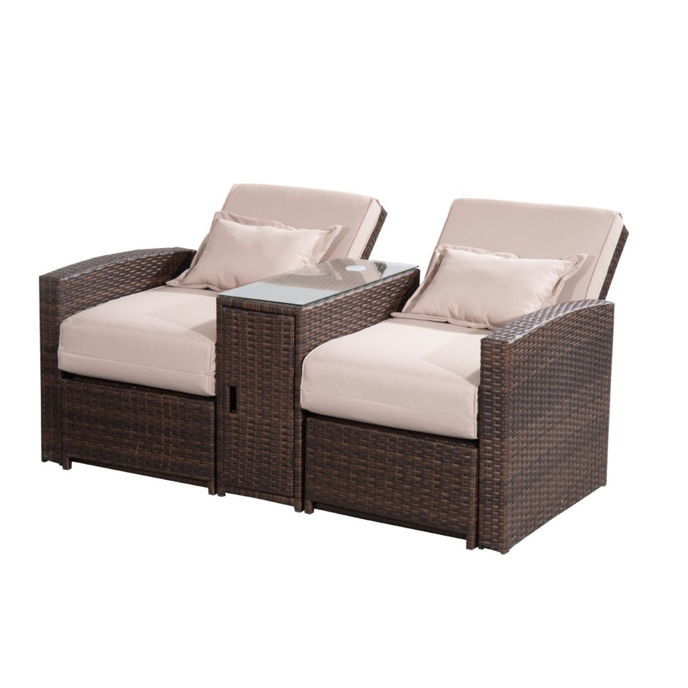 sectional dining rattan outdoor lounge and chairs couch chair garden outsunny living table furniture set wicker sofa black patio