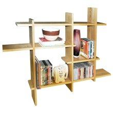 LATTICE - Wood Floating Geometric Retro Wall Display Storage Accent Shelf - Natural