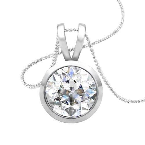 Necklace Pendant With Chain 1.50 Carat Bezel Set Diamond White Gold 14K