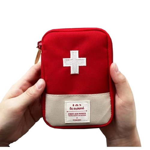 Useful Family Medicine Bag Cute Fabric Outdoor Portable Medicine Bag Red 4.9''
