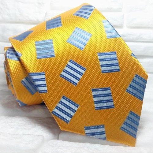 New Orange & blue tie Top Quality handmade 100% silk CAHORS brand