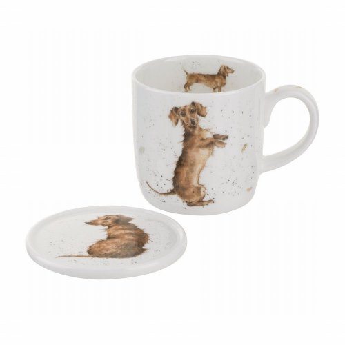Wrendale by Royal Worcester Mug and Coasters Hello Sausage Dog, Multi-Colour