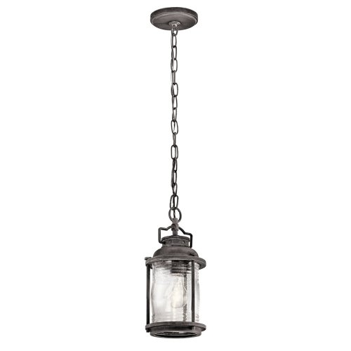 Small 1 Light Outdoor Chain Lantern In Weathered Zinc