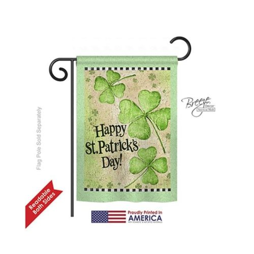 Breeze Decor 52032 St Pats St. Patricks Day Clover 2-Sided Impression Garden Flag - 13 x 18.5 in.