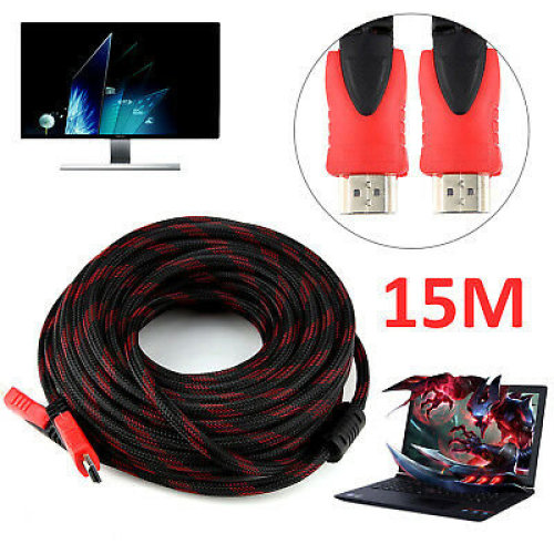 15M Long Premium Braided HDMI Cable High Speed HDTV Full HD 1080p 3D TV PS3 Xbox