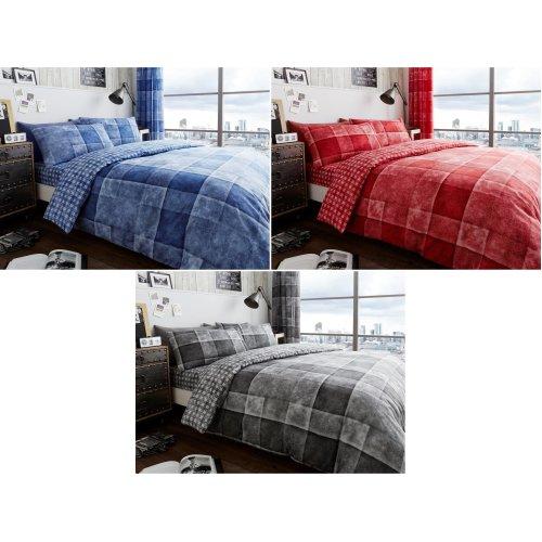 Denim Check Duvet Cover Bedding Set