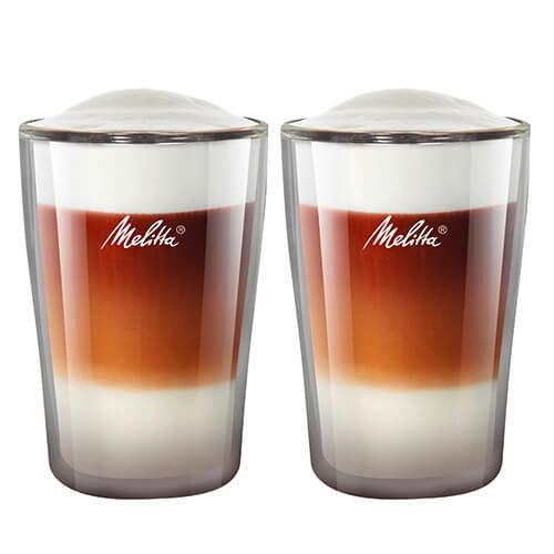Melitta 2 Latte Macchiato Glasses 200 ml, Double-Walled Borosilicate Glass, Microwave safe, Height 13 cm
