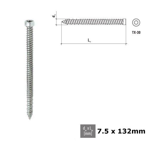 CONCRETE FRAME WINDOW SCREWS PAN HEAD 7.5 x 132mm Galvanized PCS 010