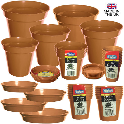 Terracotta Colour Plastic Plant Flower Pots or Saucers - Various sizes 3\  to 15\  on OnBuy  sc 1 st  OnBuy : flower pot saucers plastic - startupinsights.org