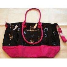 Victoria's Secret Pink/Black Sequin Bling Tote Bag Overnight Weekender Limited E