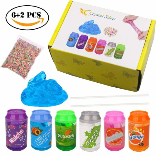 BESTZY Slime Clear Slime - 6 Cans Fluffy Slime 2 Straws 1 Pack Fruit Slice, Super Soft Non-sticky Putty Toy, Boys Girls
