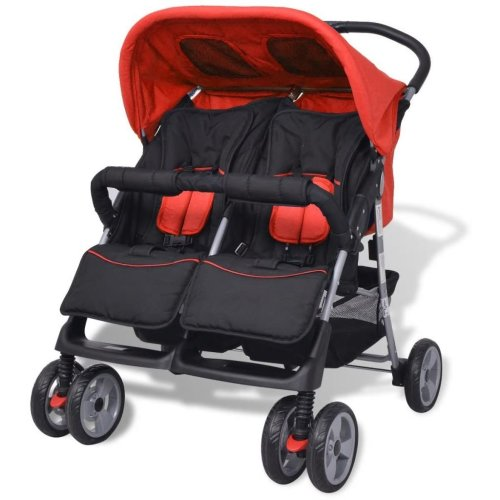vidaXL Baby Twin Stroller Steel Red and Black