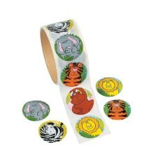 Fun Express Zoo Animal Sticker Roll Novelty (100 Piece)