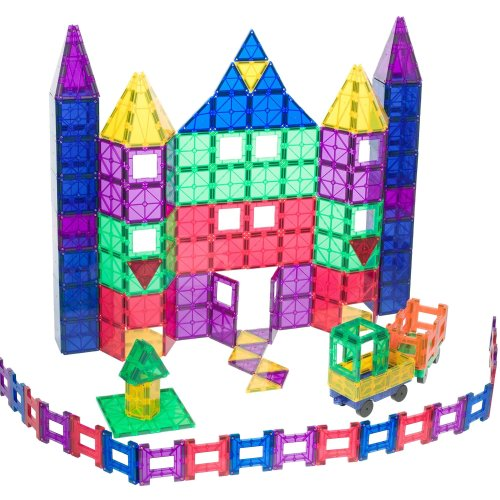Playmags 150 Piece Mega Set: Now with Stronger Magnets, Sturdy, Super Durable with Vivid Clear Color Tiles. 18 Piece Clickins Accessories to...