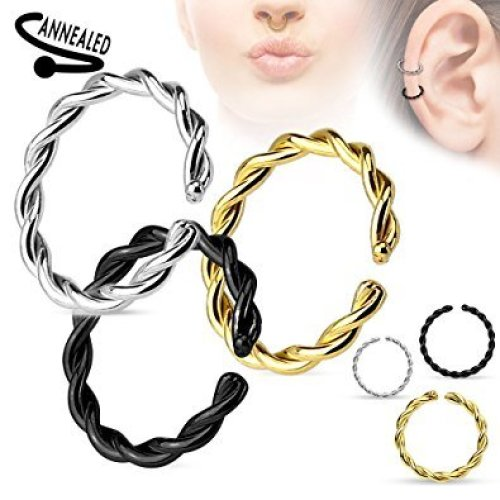Twisted Design Annealed Surgical Steel Cut Cartilage Septum Universal Piercing Jewellery