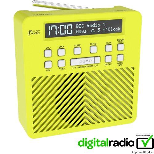 AZATOM Sonance T1 DAB Digital FM Radio Alarm Clock - Speaker System - Dual Alarm - Clock Radio - Rechargable Battery - USB Charging (Green)