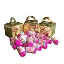 6 Boxes of Mini Love Hearts Filled Holographic Star Gold Cube Balloon Weight Favour Boxes