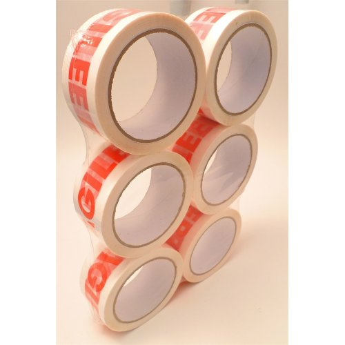 6 x Fragile Packing Tape - 66m x 48mm Sealed Pack [6 ROLLS]