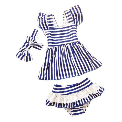 Headband Girls Two-Piece Swimsuit Swimwear Stripe Pattern, 18.5-27.5 kg