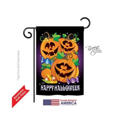 Breeze Decor 62049 Halloween Happy Pumpkins 2-Sided Impression Garden Flag - 13 x 18.5 in.