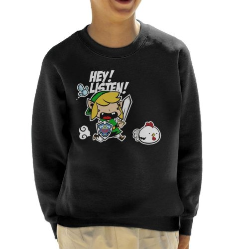 Hey Listen Cute Link Legend Of Zelda Kid's Sweatshirt