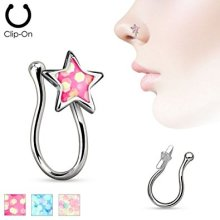 Opal Glitter Filled Puffed Star Fake Nose Stud Clip Non-Piercing