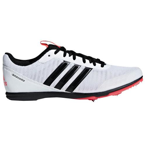 adidas Distancestar Womens Running Spike Trainer Shoe White/Black/Red