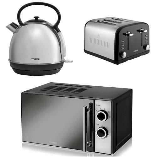 Silver 1.7L Dome Kettle, Black Silver 4 Slice Toaster & Black Manual Microwave,