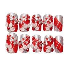 Bright Red Artificial False Nails Tips Wedding Fake Nails Decoration - 2 Box