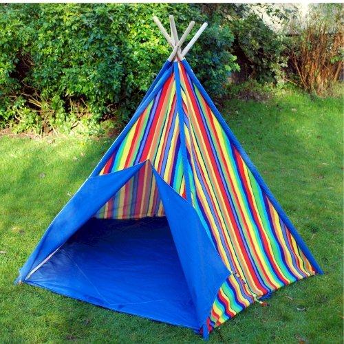 Children's Indoor and Outdoor Blue Stripe Wigwam Teepee Tent