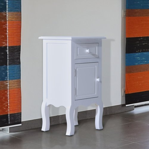 Homcom Wooden Bedside Table Night Stand Bedroom Cupboard Chest White