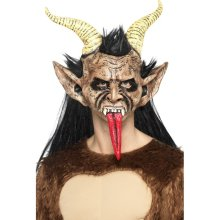 Beast / Krampus Demon Mask, Brown, Rubber , Overhead, With Hair & Horns