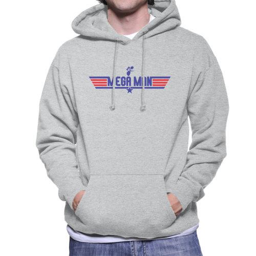 (X-Large, Heather Grey) Top Gun Logo Mega Man Men's Hooded Sweatshirt