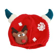 Winter Baby Kids Girls Boys Christmas Hats Warm Deer Crochet Caps Best Gift For 6-12 month Baby-Red