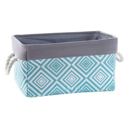 Fabric Portable Storage Basket Kitchen Snack Toy Debris Storage Box, Green Grids
