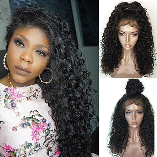 f753ce91430 Jessica Hair Black Women Curly Brazilian Virgin Hair Lace Front Wigs Human  Hair Wigs Glueless with Baby Hair(18 inch with 150% density) on OnBuy