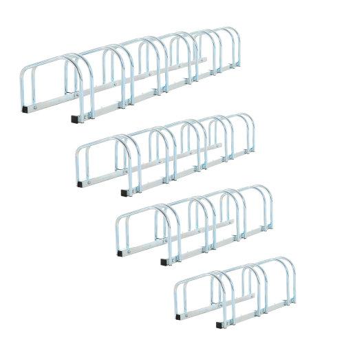 HOMCOM 6-Bike Floor Parking Stand – Silver