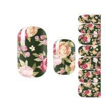 Dark Floral Nail Decals Colorful Nail Wrap Decoration, Set of 3 Nail Art Sticker