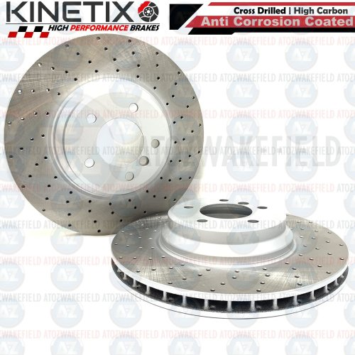 FOR BMW 335i E90 FRONT DRILLED KINETIX PERFORMANCE BRAKE DISCS PAIR 348mm COATED