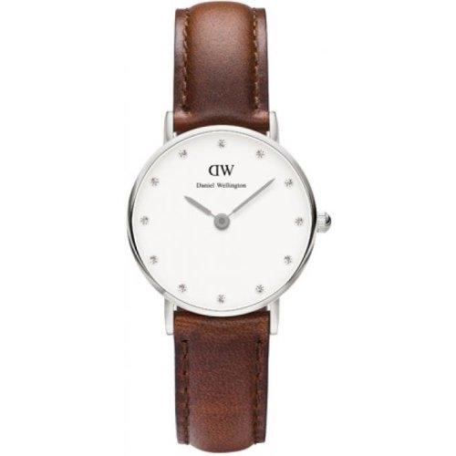 Daniel Wellington DW00100067 Watch Brown Leather Case Silver Woman