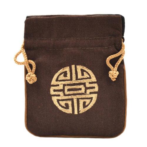 5PCS Handcraft Embroidery Purse Pouch Mini Drawstring Bag Pocket, Coffee